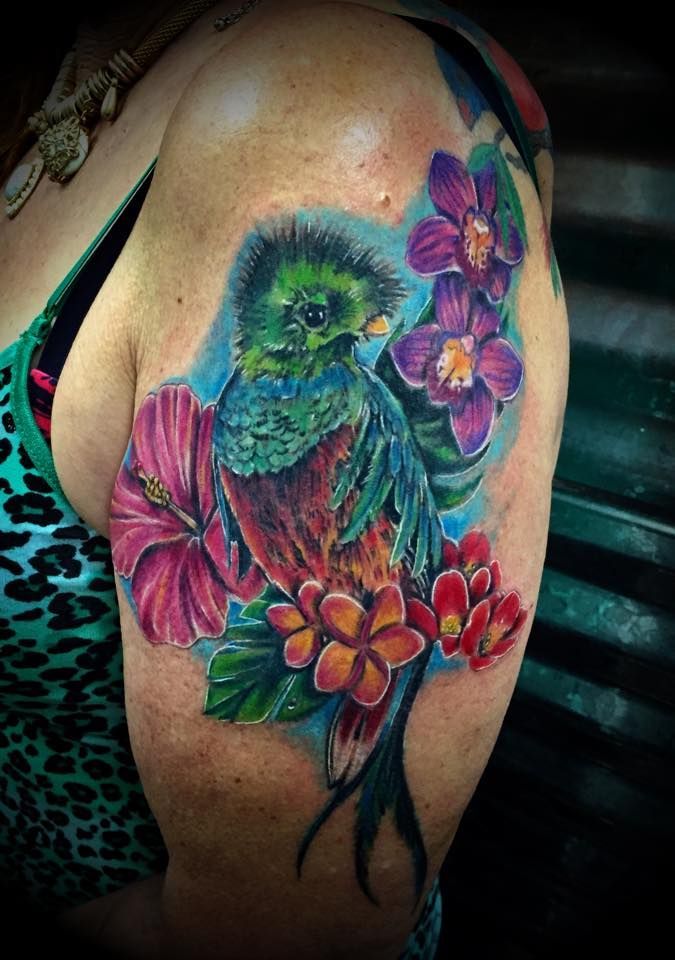 My quetzel shoulder tat from last year flower images for Tattoos that last a year