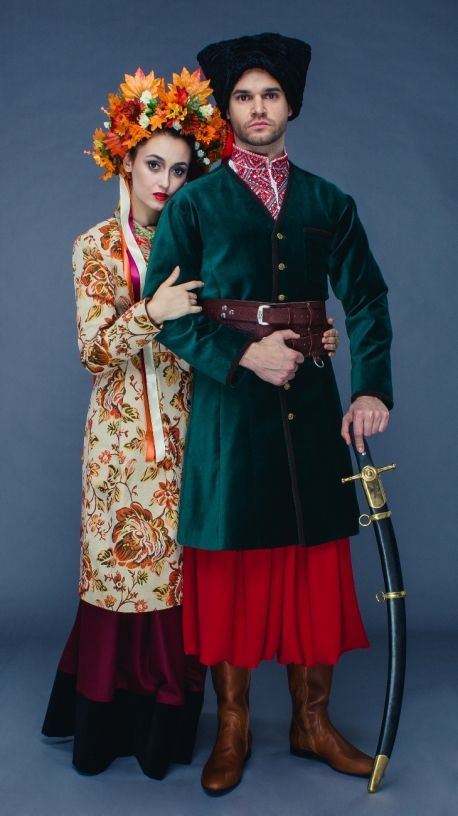 A Couple in traditional Ukrainian wearing