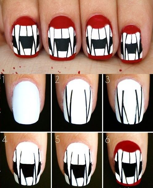 Uñas para Halloween. Encuentra más estilos en... http://www.1001consejos.com/unas-paso-paso-para-halloween/