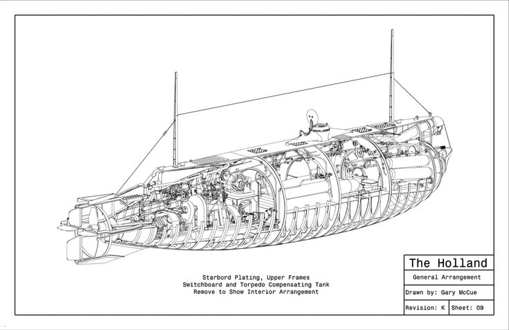 General Arrangement of the Holland SS-1, the US Navy's