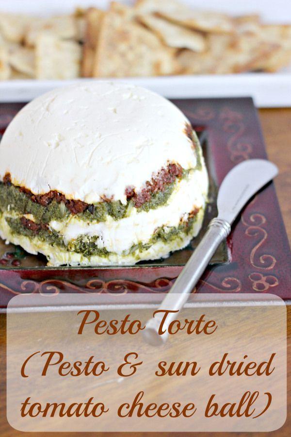 Pesto Torte (Pesto & Sun dried tomato cheese ball)