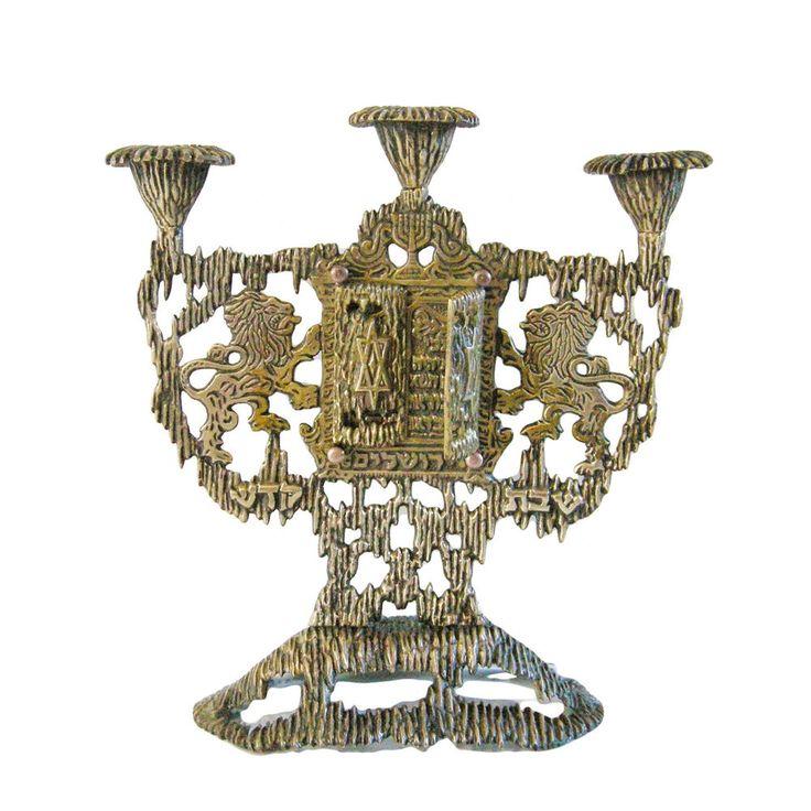 Jewish Shabbat Jerusalem Candle holder w/ Ten Commandments Brass Handmade Israel