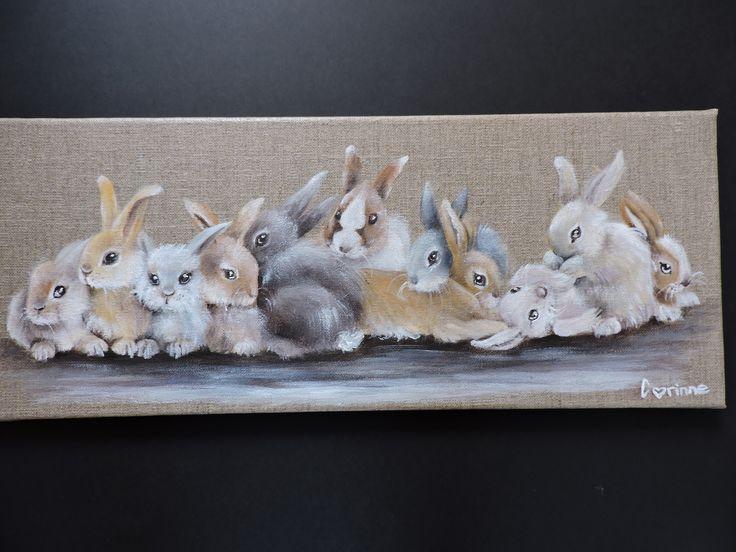 Tableau décoratif en toile de lin naturel '' famille de lapins '' : Décorations murales par corinne-mk