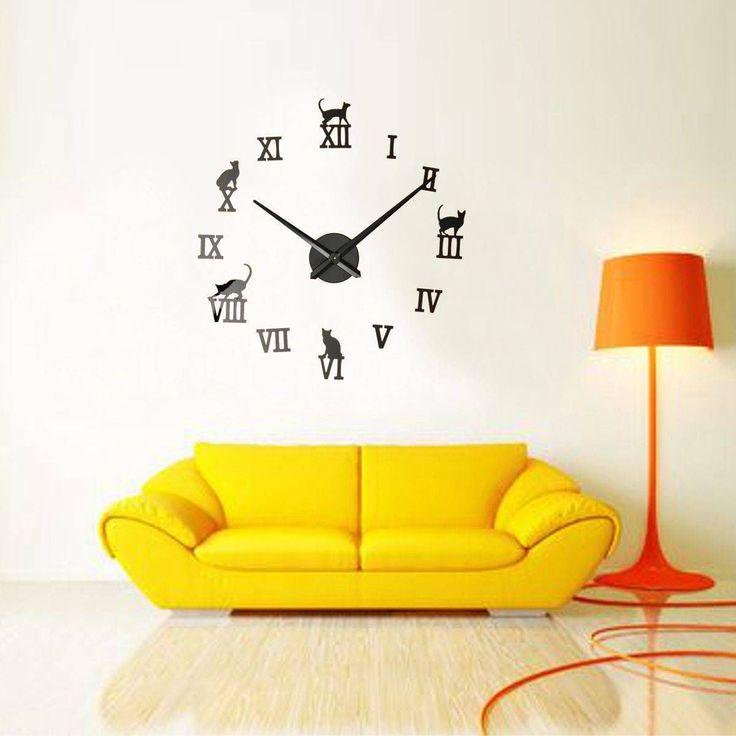 3D Art Cat Large Wall Clock Big Watches Home Time Mirror Surface Sticker Decor   eBay