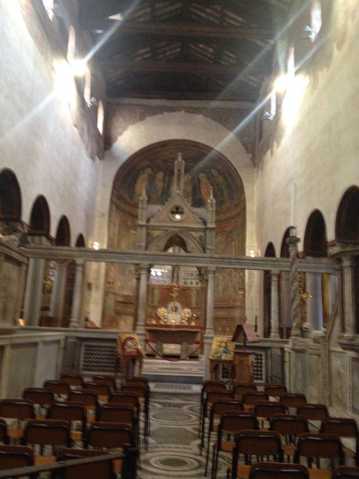 In the portico of Santa Maria church in Rome, La Bocca della Verita is carved of marble.