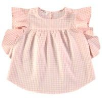 MORLEY Dani Blouse in Melon. Pretty gingham top with shoulder frills from LITTLECIRCLE Spring Summer 2016 Girls Collection. Shop now: littlecircle.co.uk