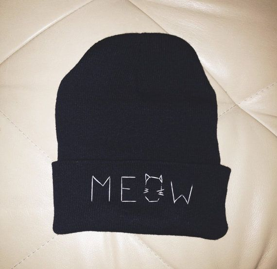 Black MEOW Cat Beanie by ZHUU on Etsy, $15.00: Bennies, Cat Ishh, Beanie Bing, Black Meow Cat Beanie, Black Beanie, Cat Attire, Cat Beeni, Beanies Snapback, Cat Apparel
