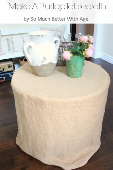 How to make a burlap tablecloth in 5 easy steps! You can make one yourself. Inexpensive and easy.