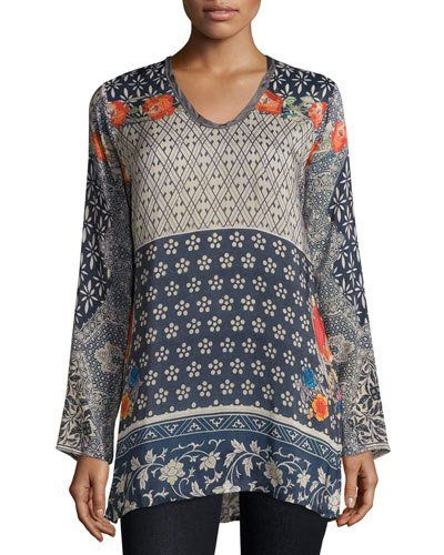 "Johnny Was Collection ""Wish"" tunic in printed georgette. Scoop neckline; long sleeves. Relaxed silhouette. High-low hem. Rayon. Machine wash. Imported."