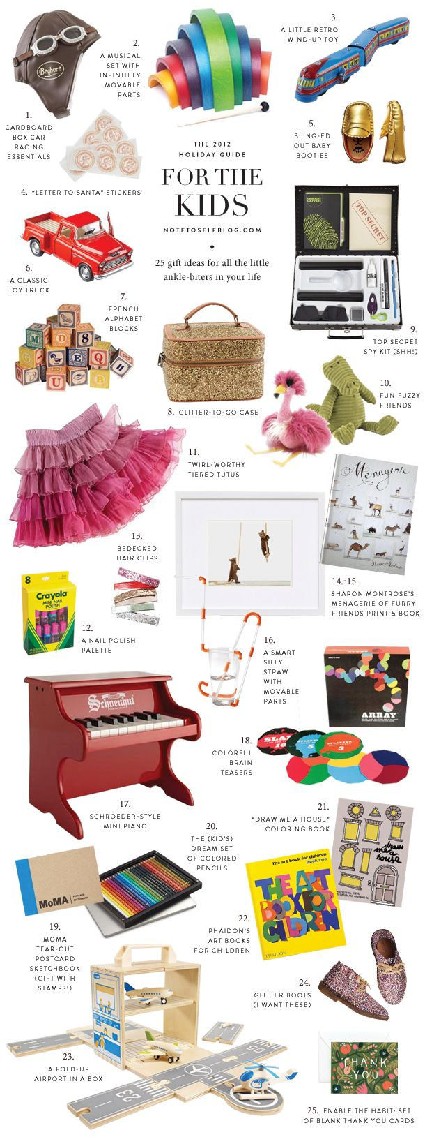 Holiday Guide: 25 Gift Ideas for Kids (via notetoselfblog.com).
