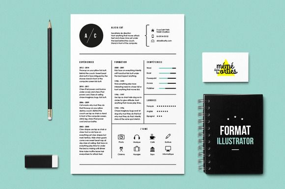 cv  resume template illustrator by m u00e9m u00e9danslesorties on creative market