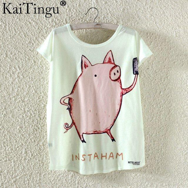 KaiTingu Novelty T Shirt Summer Harajuku Kawaii Cute Fish Animal Panda Print T-shirt Short Sleeve T Shirt Women Tops Plus Size