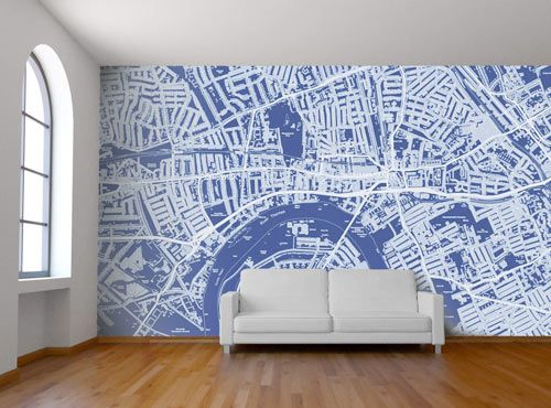 Want constant memories of a fave country, city, neighborhood? Check out these custom map wall murals by Wallpapered