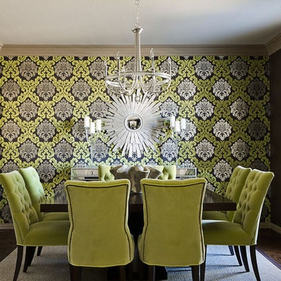 Beautiful Chartreuse Wallpaper Design Ideas For Dining Room