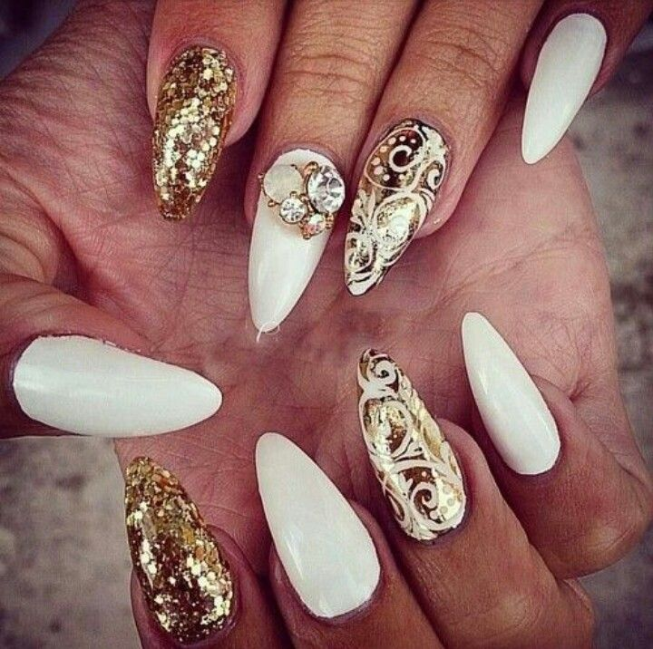White & Gold Almond Shape Acrylic Nails w/ Gold Foil & Rhinestones