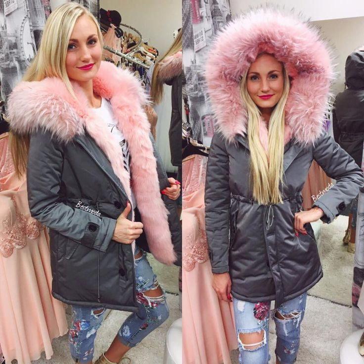 GREY PARKA WITH PINK FUR