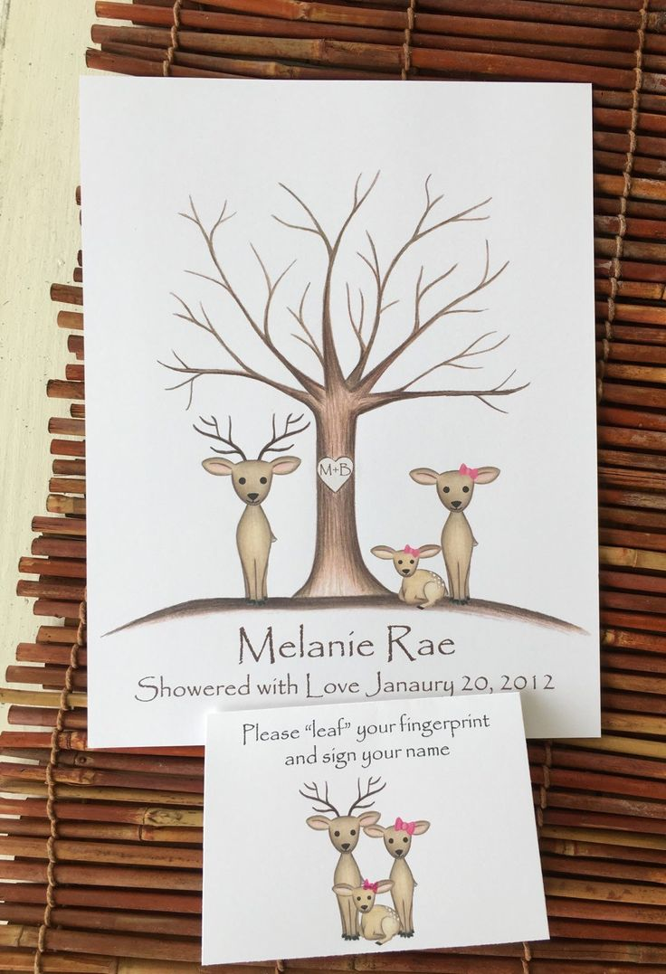 Customizable Thumb print tree guest book for a girl's deer themed baby shower, buck doe and fawn, hunting theme nursery, deer nursery art - pinned by pin4etsy.com