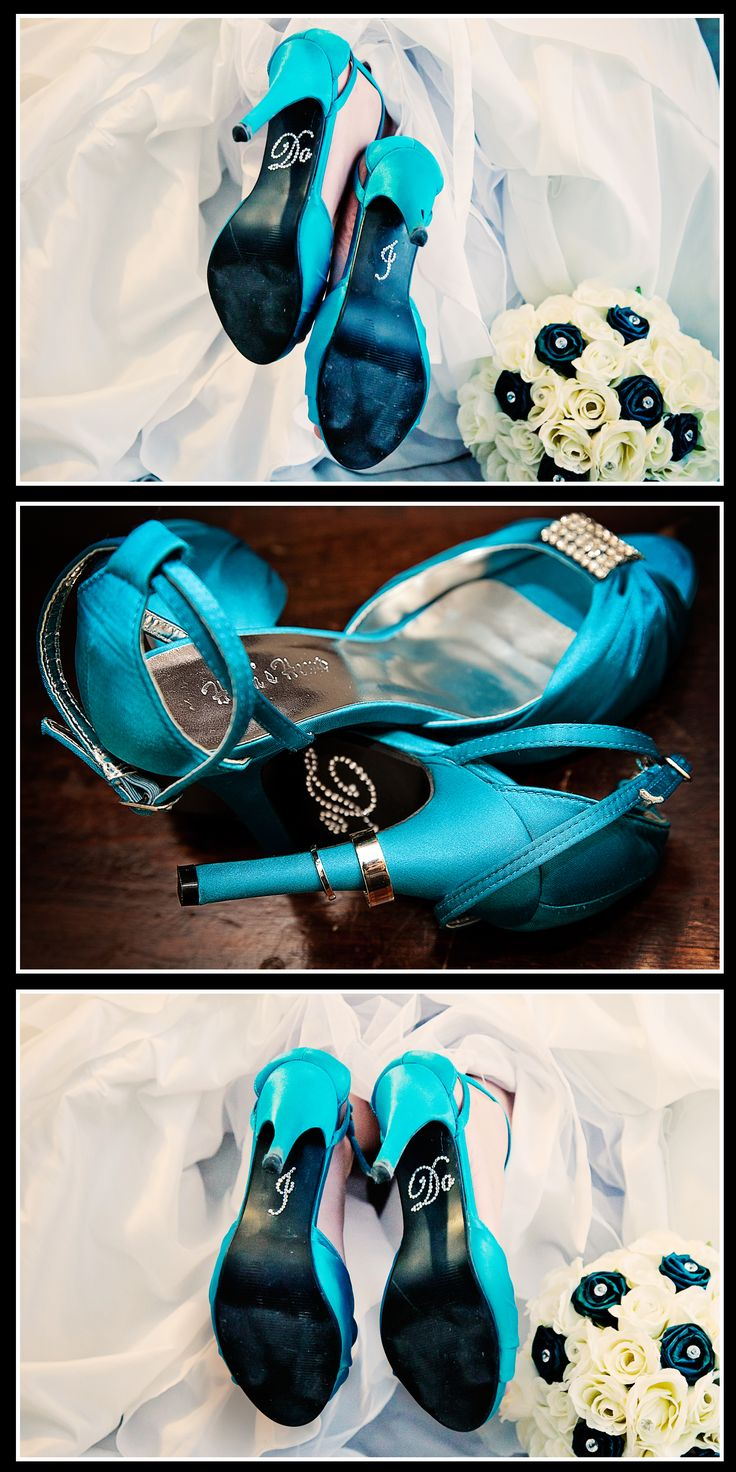 """This photo is from my own personal wedding... took me months to find the perfect Cyan Blue High Heels and am now proud to be able to supply these gorgeous heels (also available in different colours) in my business!  You can also purchase Rhinestone """"I Do"""" Shoe Stickers (and other types) from us at Allure Weddings NZ"""