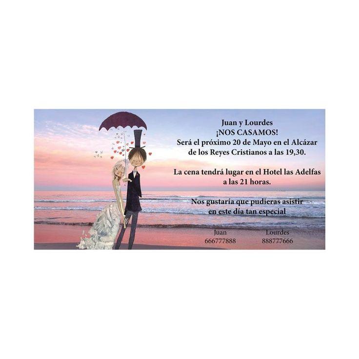 Invitacion de boda novios en playa