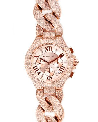 Michael Kors Mid-Size Rose Golden Stainless Steel Camille Chronograph Glitz Link Watch.