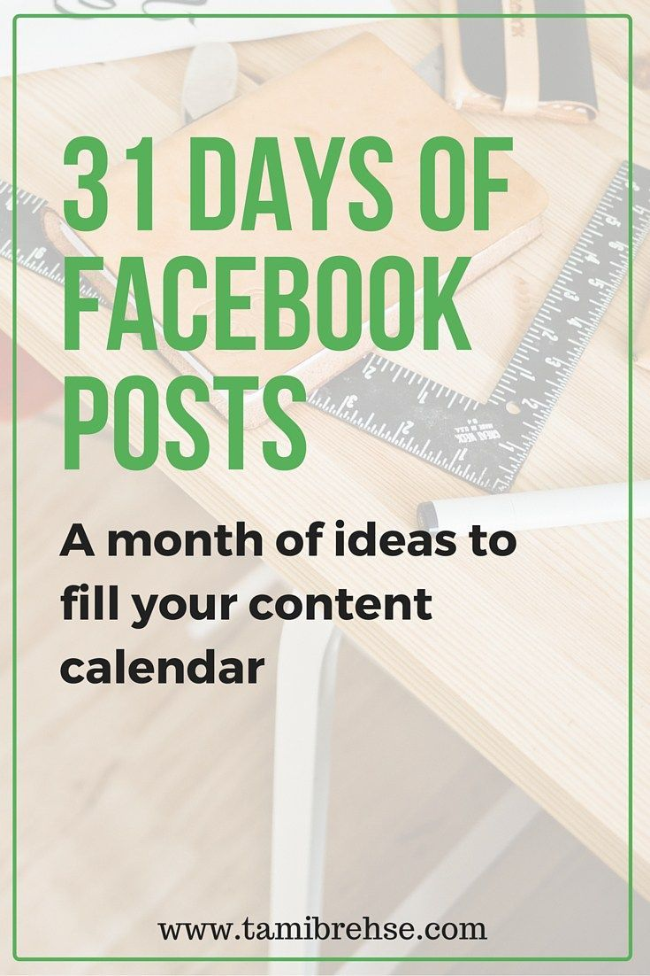 Love this practical 31 days of Facebook posts to inspire your content calendar for the month ahead