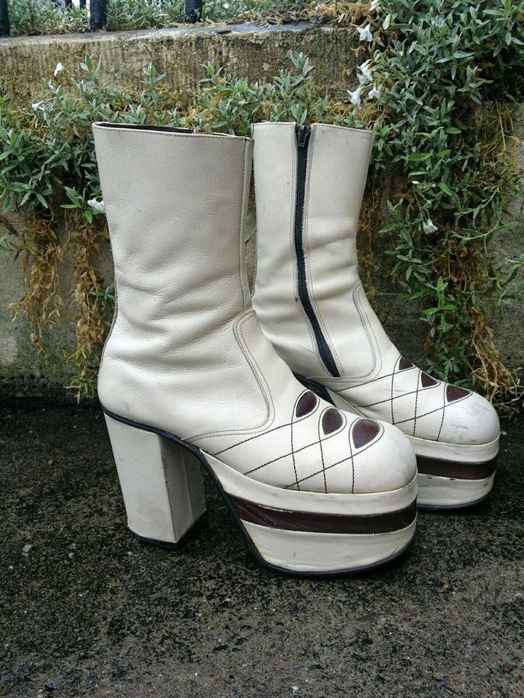 "Vintage 1970s Glam Rock 5"" Platform Boots Shoes.David Bowie,Slade,T-Rex,S 9 vgc   | eBay"