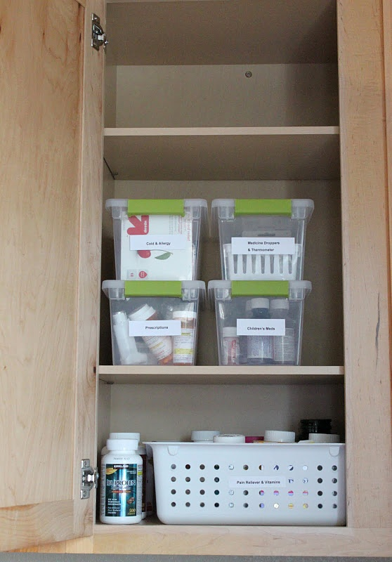 I love bins, and I bought some like this, so I'm on. Organize Medicine  CabinetsMedicine ... - Best 25+ Organize Medicine Cabinets Ideas On Pinterest Spice