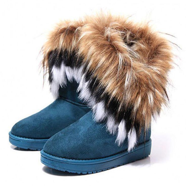 Fashion Fox Fur Warm Autumn Winter Wedges Snow Women Boots Shoes GenuineI Mitation Lady Short Boots Casual Long Snow Shoes-in Women's Boots from Shoes on Aliexpress.com | Alibaba Group