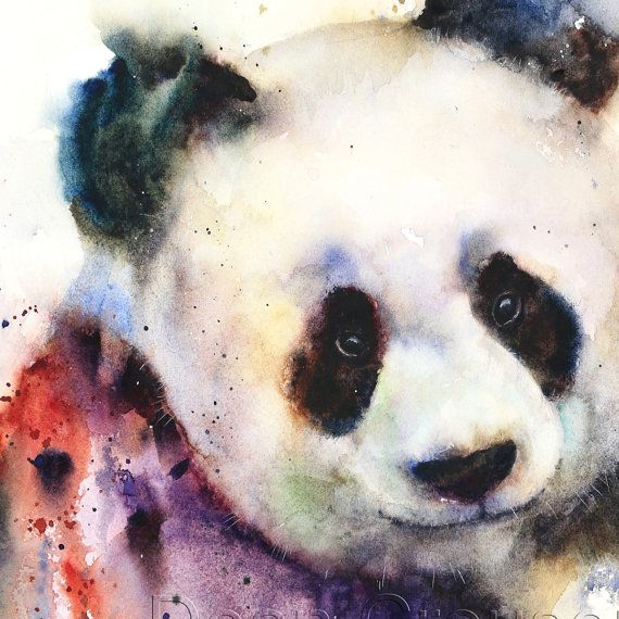 PANDA Watercolor Print by Dean Crouser by DeanCrouserArt on Etsy