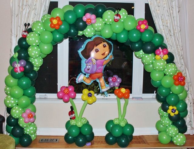 Fun balloon arch at a Dora Party #dora #balloons