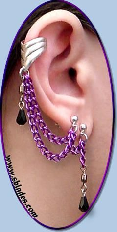 Colorful ear cuff earring, Multi-pierced or non-pierced bajoran style earcuff chains by Chainmail  More. Handcrafted to order.