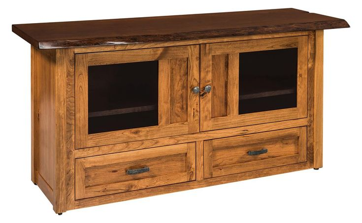 Amish Kalispel TV Cabinet with Live Edge Top Amish made combined with a natural live edge brings you unforgettable solid wood furniture.