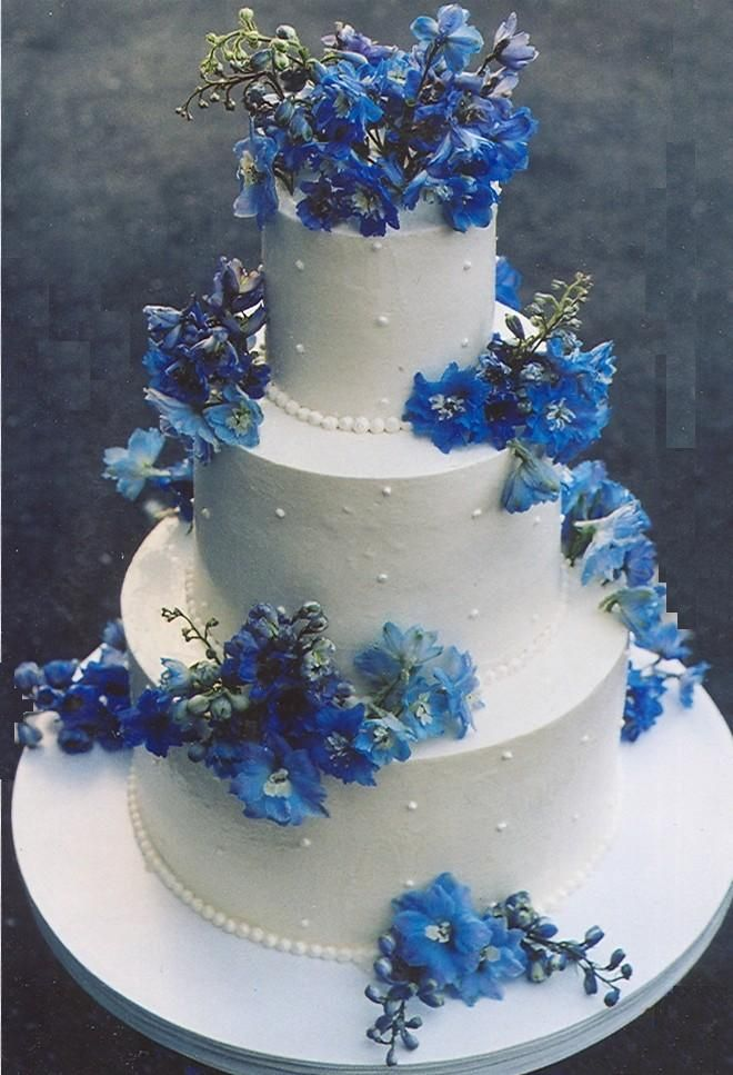 blue and silver wedding | ... round white bridal cake delicately decorated with blue hydrangeas