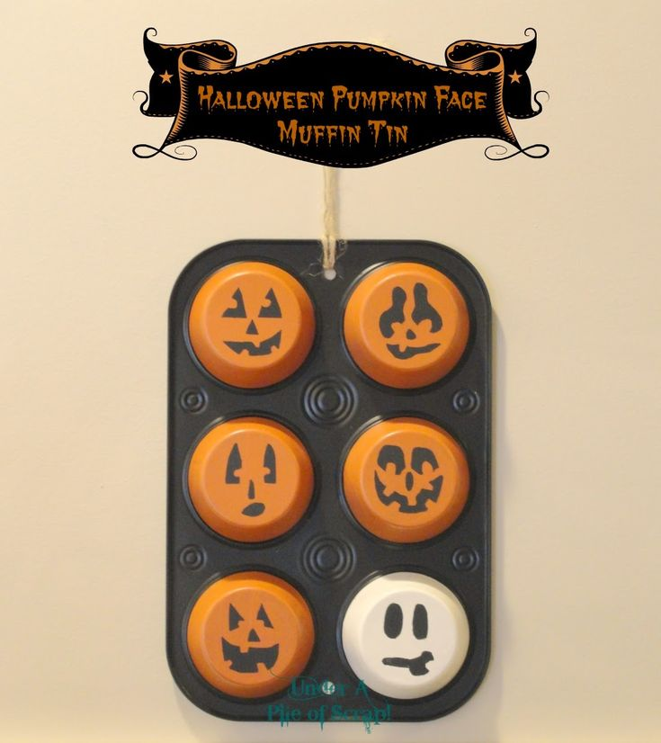 Halloween pumpkin face muffin tins - Snowman muffin tin spin-off.  Cute project for the little ones if they're not old enough to carve a pumpkin yet. Either let them paint the whole thing, or grown-up can do the black/orange & let kiddos decorate the faces with a black marker.