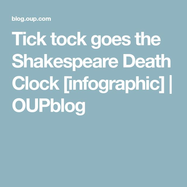 Tick tock goes the Shakespeare Death Clock [infographic] | OUPblog