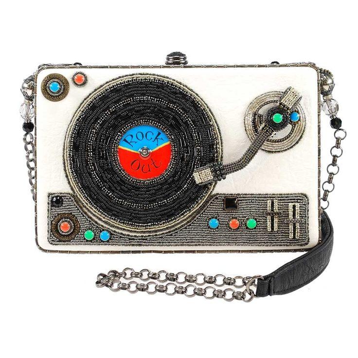 Rock Out Beaded Record Player Novelty Handbag Designer Embellished Handbags