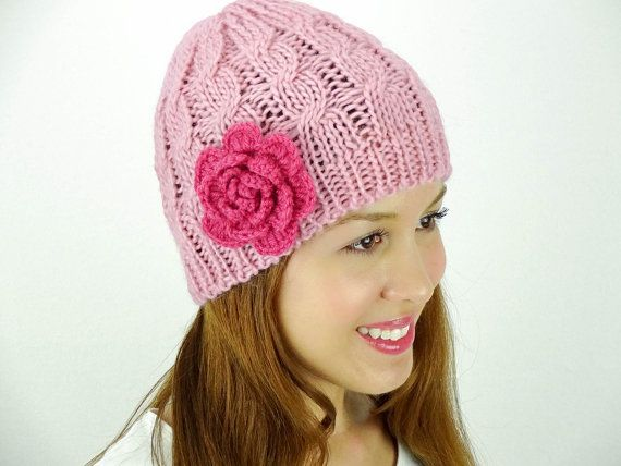Pink adorable beanie by JuicyBows on Etsy