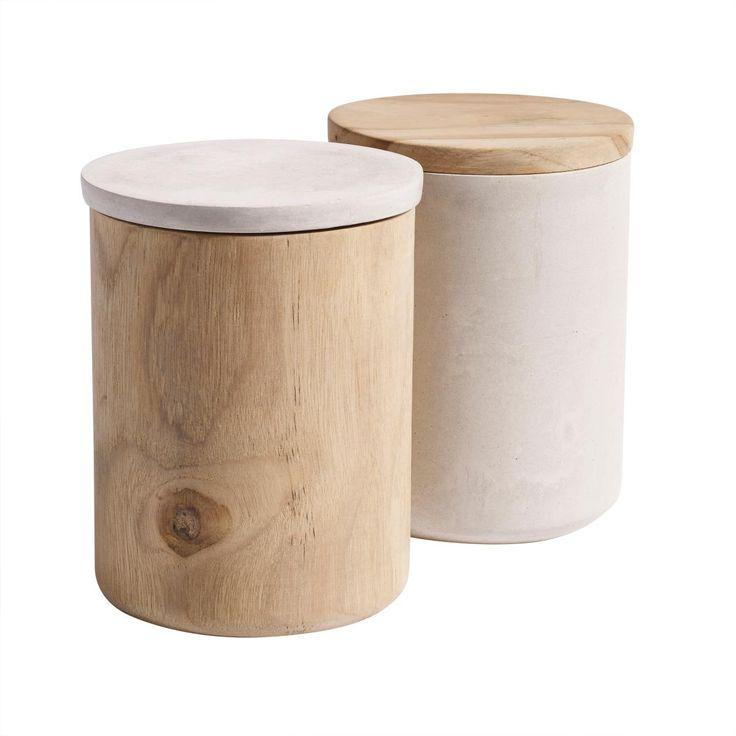 Jar with lid, wood