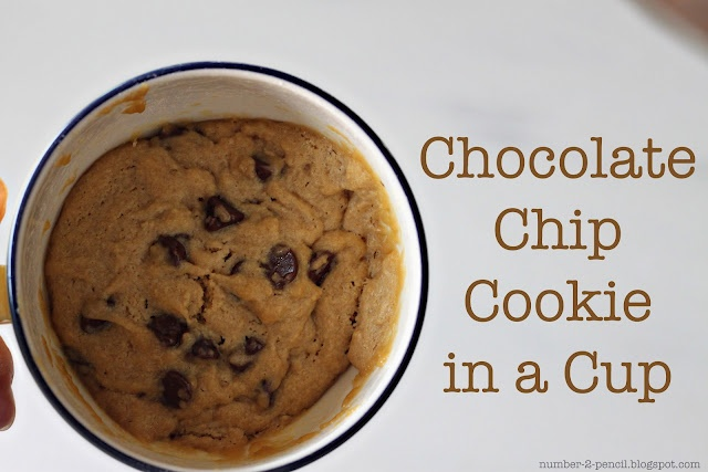 Chocolate Chip Cookie in a Cup. A warm, freshly baked cookie in less than five minutes.