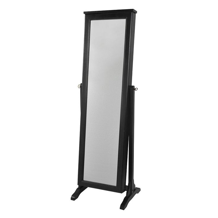 Decor Therapy Traditional Floor Mirror Jewelry Armoire, Black