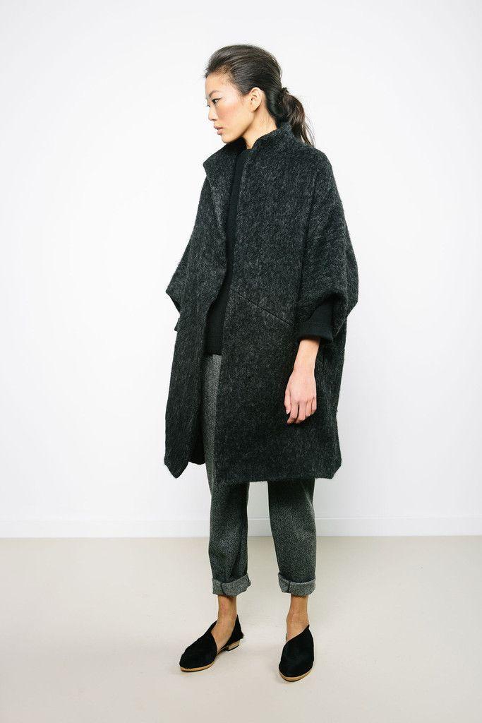 Short sleeved grey/black cocoon coat                                                                                                                                                                                 More