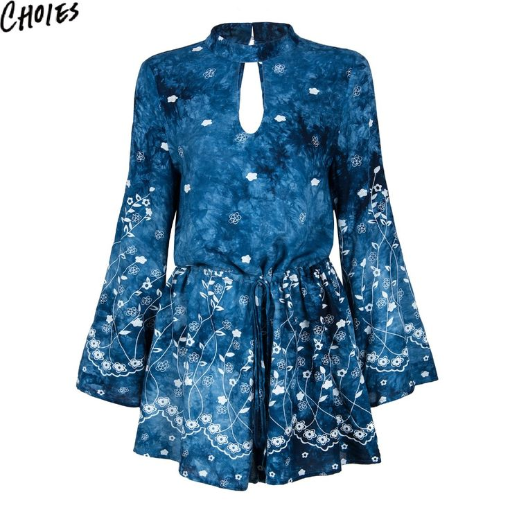 Women Blue High Neck Cut Out Front Open Back Sexy Long Sleeve Romper Playsuit 2017 New Summer Tie Waist Elegant Casual Clothing