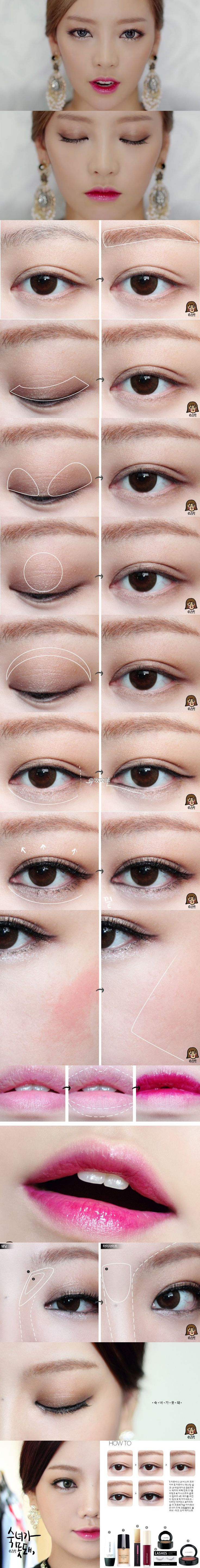 """Tutorial for Goo Hara's makeup in the """"Damaged Lady"""" mv - the eyeliner is pretty unique!"""