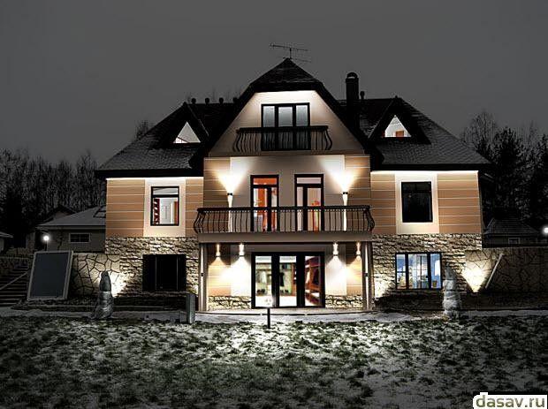 Подсветка дома, в результате сказочное освещение