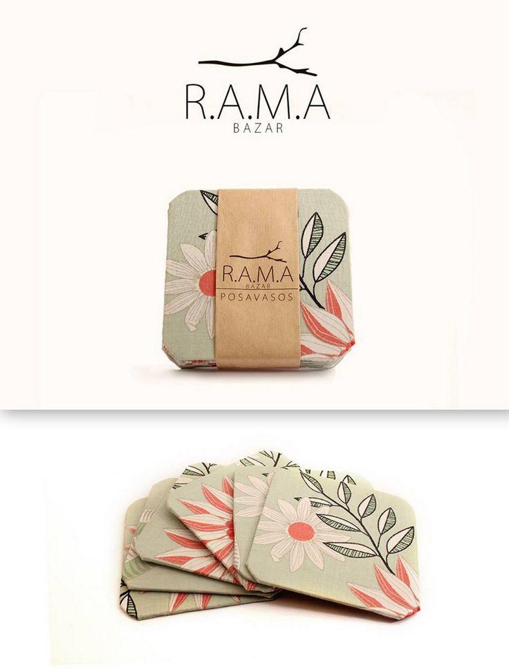 R.A.M.A BAZAR  Pack 6 posavasos. Tela/cartón 9x9 cm $3000