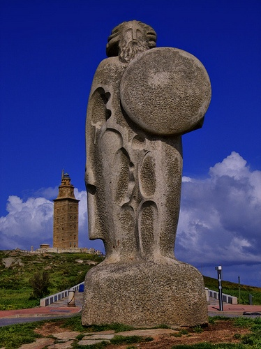 BREOGAN, Father of the Gaelic Tribes, a statue in his honor, near the tower where the ships taking the Gaels to Eireann embarked from.