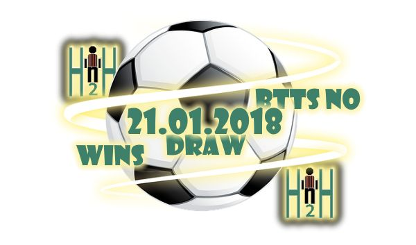 Soccer H2H Tips Soccer H2H Tips, H2H Statsfor 21.01.2018 WINS, DRAW, BTTS No Suggestions fot Today Soccer H2H Tips is our section for Soccer h2h stats analysis, all Soccer H2H Tips stats are analyzed, only the best are selected and delivered to our visitors, Hereare Todays Soccer H2H Tips, choose wisely, not always H2H Stats make winning predictions. Our team isanalyzing all Soccer H2H Tips for the next days, in order to bring you thebest Soccer H2H Tips, also to help you with your best…