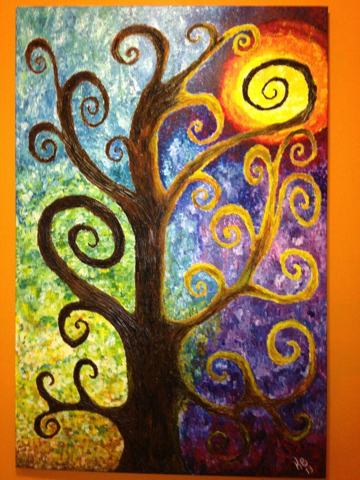 Arbol de sue os cuadro en pintura acrilica con pasta - Pinturas para pintar madera ...