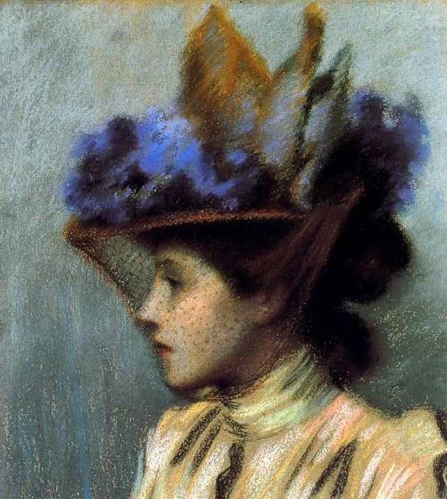 Federico ZANDOMENEGHI - jeune femme au chapeau 1895