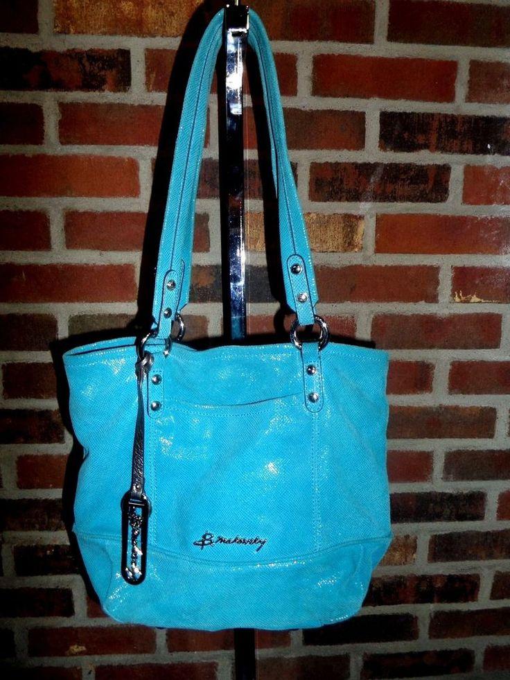 B. Makowsky Leather Medium Tote with Signature Hardware A212545 Aruba Blue #BMakowsky #hobo